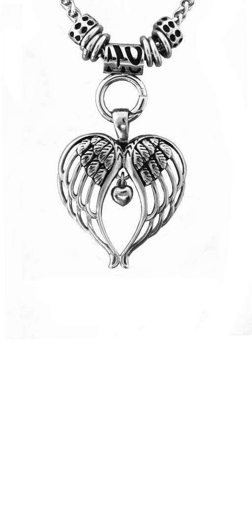 "SK2395 Ladies Angel Wing Heart Pendant With 4mm 19"" Foxtail Necklace Stainless Steel Motorcycle Jewelry"