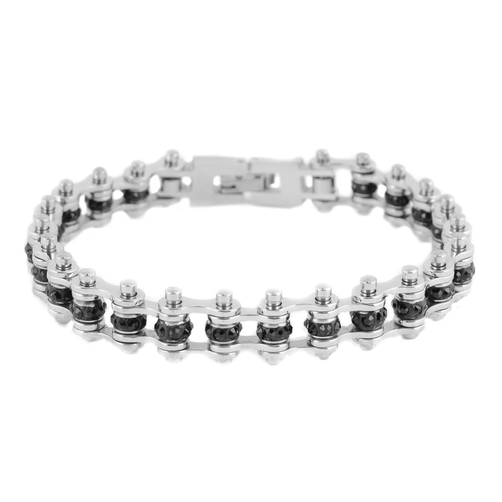 "SK2206 3/8"" Wide Mini Mini Size Two Tone Silver With Black Crystal Centers stainless Steel Motorcycle Bike Chain Bracelet"