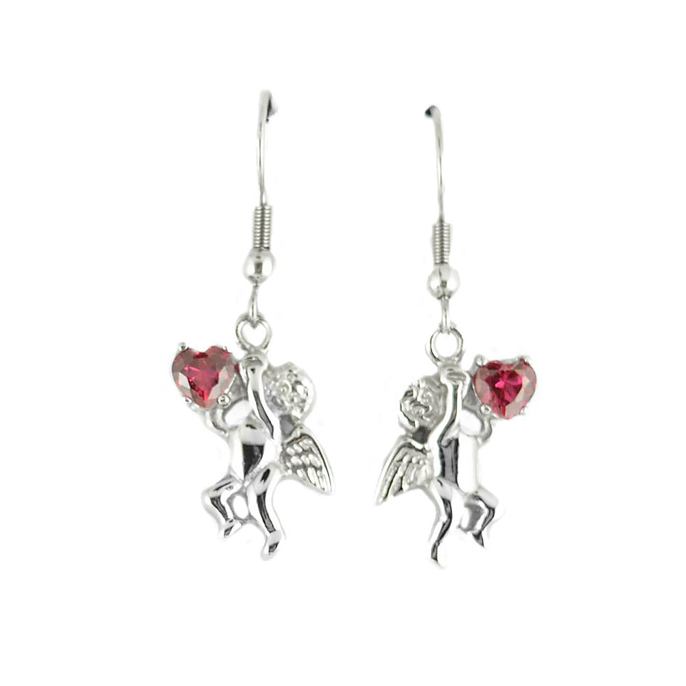 SK1466  Cherub Angel  Earrings Imitation Ruby Heart Shape Stones French Wire Stainless Steel Motorcycle Biker Jewelry