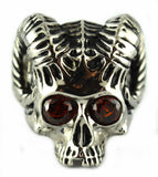 SK2501 Horned Goat Skull Stainless Steel Ring Imitation Stone Eyes Size 9-14