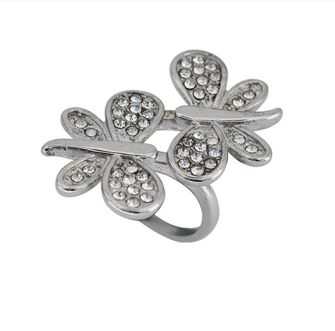 SK2504 Ladies Butterfly Stone Ring Stainless Steel Motorcycle Jewelry  Size 6-10