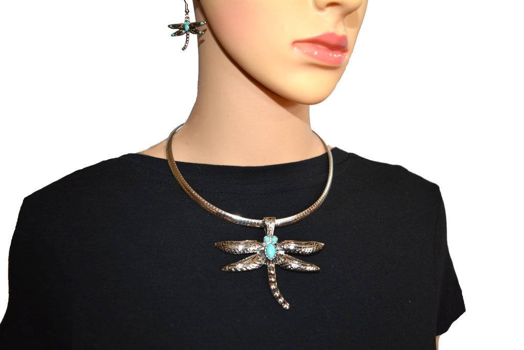 "SK2530 Dragonfly Pendant 2.5"" Tall & Matching Earrings Imitation Turquoise  With Omega 19"" Chain Stainless Steel"