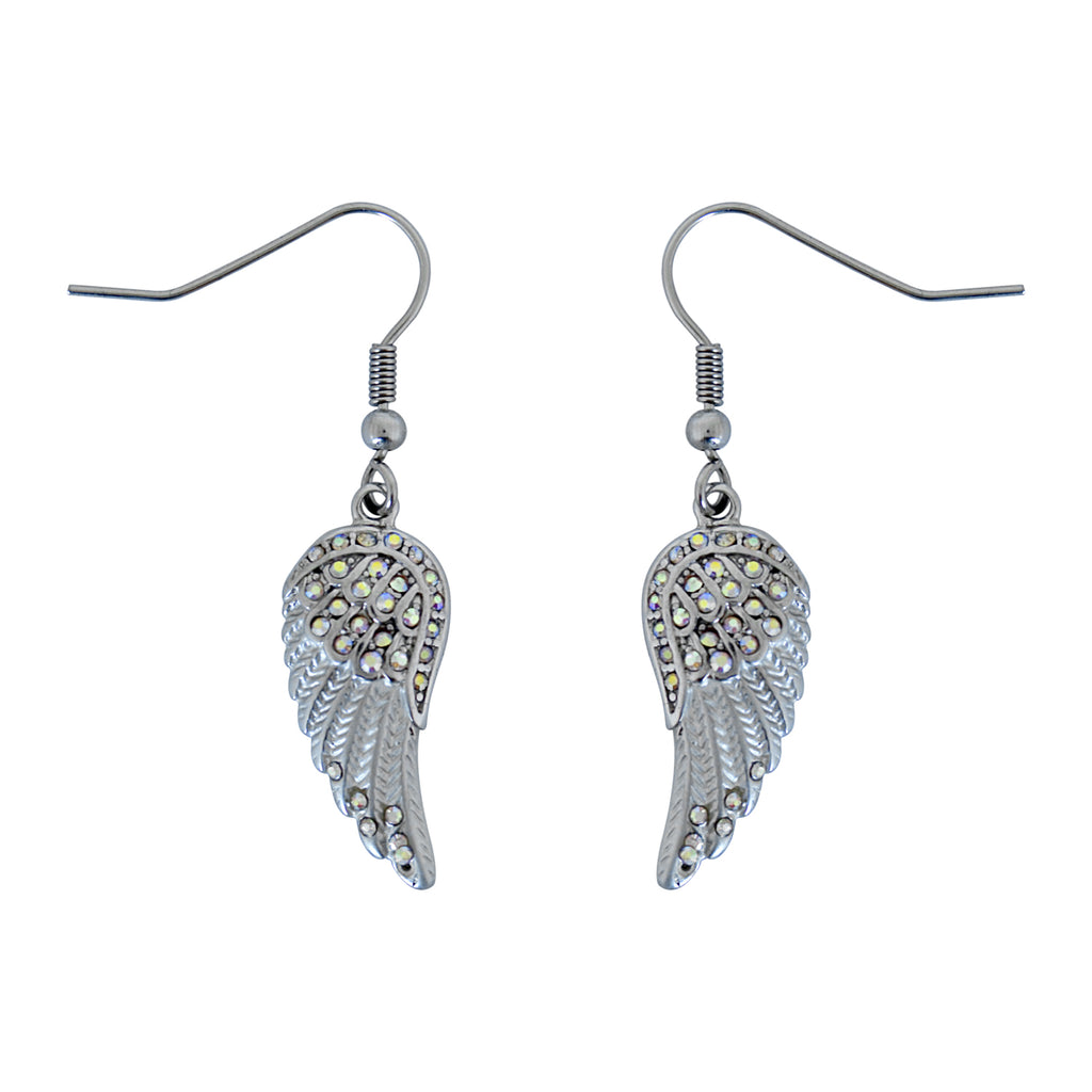 SK2536 Mini White Painted Winged French Wire Earring White Imitation Crystals