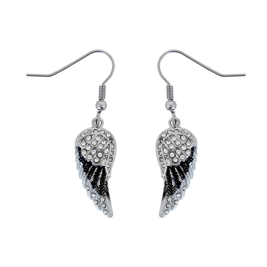 SK2537 Mini Black Painted Winged French Wire Earring White Imitation Crystals