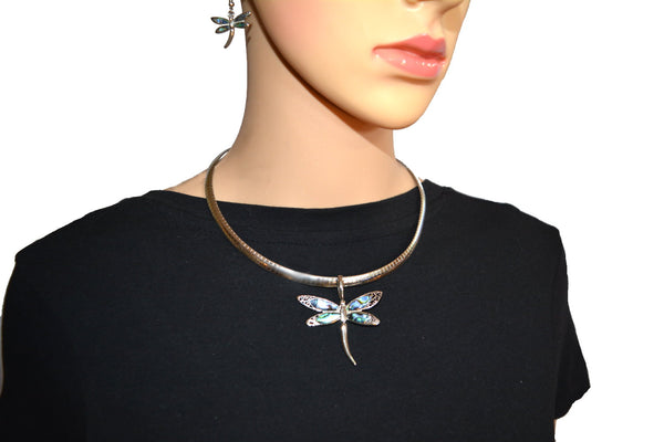 "SK2540 Abalone Wide Dragonfly Pendant & Matching Earrings With Omega 19"" Chain Stainless Steel"