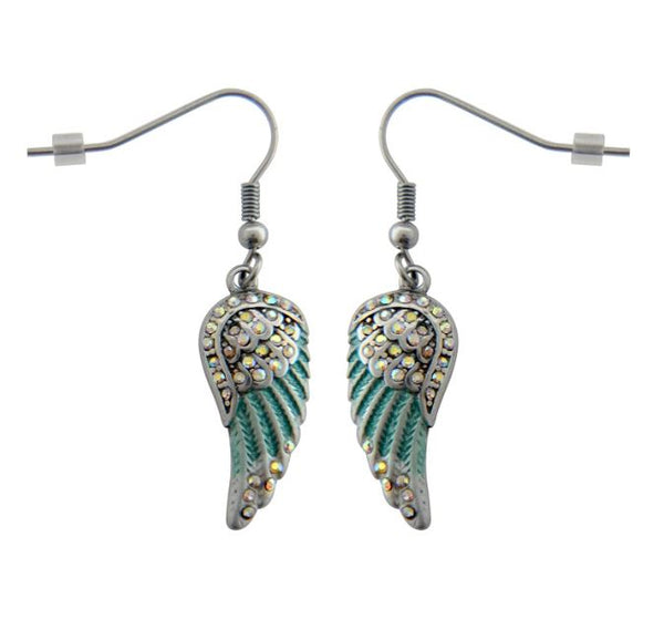 SK2541 Mini Seafoam Painted Winged French Wire Earring White Imitation Crystals