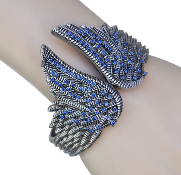 SK2554 Wings Heart Bangle Imitation Blue Diamonds Stainless Steel Heavy Metal Jewelry