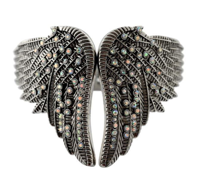 SK2556 Wings Heart Bangle Imitation Imitation Irredisent Stones Stainless Steel Heavy Metal Jewelry