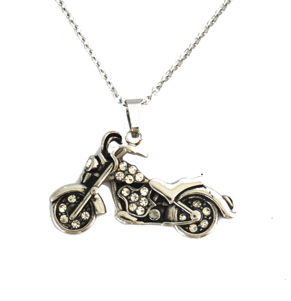 "SK2600 Ladies Bling Skull Pendant With Necklace 19"" Stainless Steel Motorcycle Jewelry"