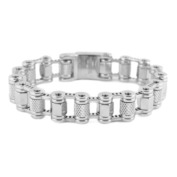 SK1789 All Stainless With Skull On Clasp Machine Bike Chain Bracelet