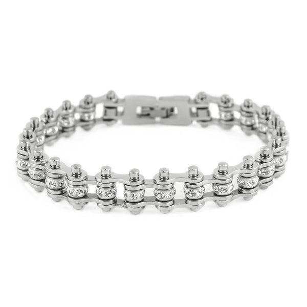 "SK2005 3/8"" Wide MINI MINI SIZE All Stainless With White Crystals Stainless Steel Motorcycle Bike Chain Bracelet"