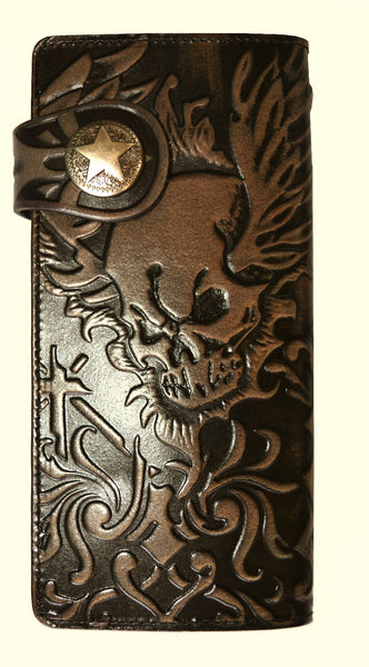 "SK2833 Leather Wallet Embossed Skull ""Highest Quality Italian Leather"""