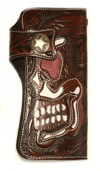"SK2843 Leather Wallet Embossed Skull White Stitching ""Highest Quality Italian Leather"""