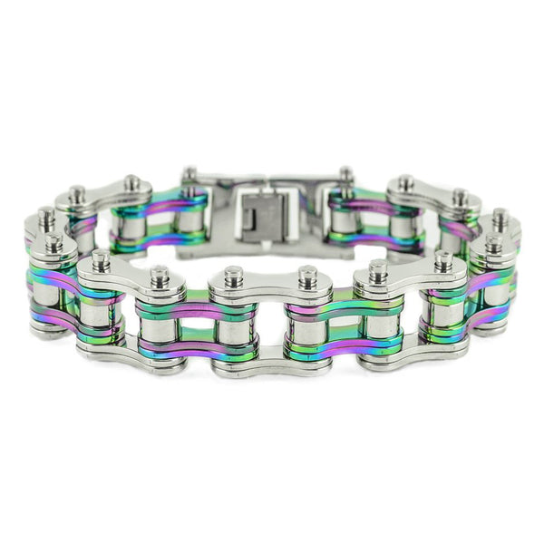 "SK1281 Two Tone Silver Rainbow 3/4"" Wide Double Link Design Stainless Steel Motorcycle Chain Bracelet"