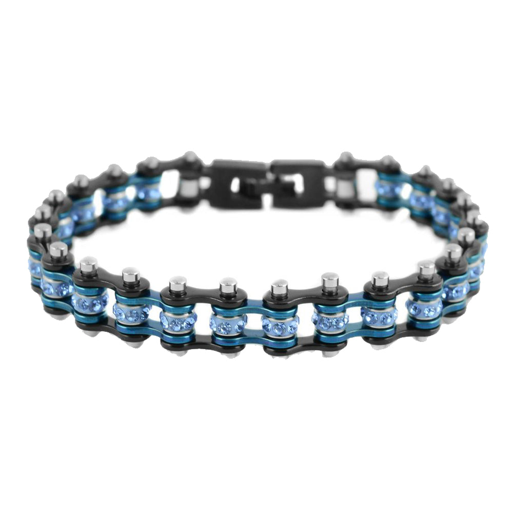 "SK2202 3/8"" Wide MINI MINI SIZE Two Tone Black Blue With Blue Crystal Centers Stainless Steel Motorcycle Bike Chain Bracelet"