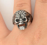 SK1021 Gents Tribal Tattoo Skull Ring Stainless Steel Motorcycle Biker Jewelry