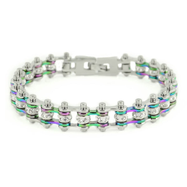 "SK2207 3/8"" Wide MINI MINI SIZE Two Tone Silver Rainbow With White Crystal Centers Stainless Steel Motorcycle Bike Chain Bracelet"