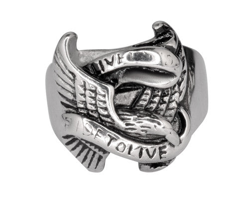 SK1036 Gents Live To Ride Ring Stainless Steel
