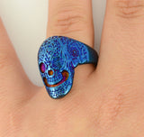 SK1751 Gents Tattoo's Gone Wild Ring Blue Anodized Edition Stainless Steel Motorcycle Biker Jewelry