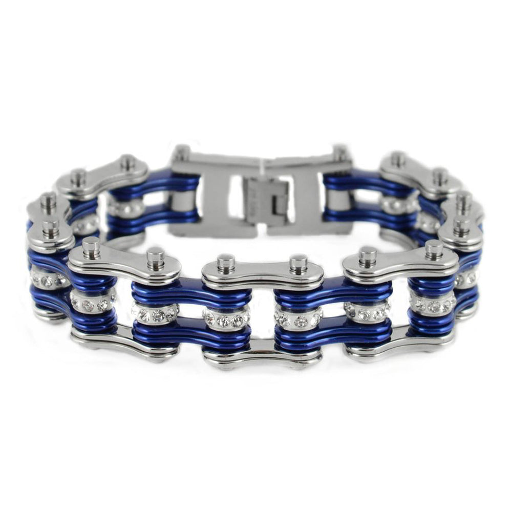 "SK1200 Silver Candy Blue Crystal Rollers 3/4"" Wide Double Link Design Unisex Stainless Steel Motorcycle Crystal Rollers Chain Bracelet"