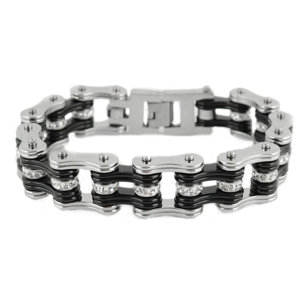 "SK1201 Silver Black Crystal Rollers 3/4"" Wide Double Link Design Unisex Stainless Steel Motorcycle Crystal Rollers Chain Bracelet"