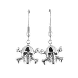 SK1628  Skull Bones French Wire Earrings Stainless Steel Motorcycle Biker Jewelry