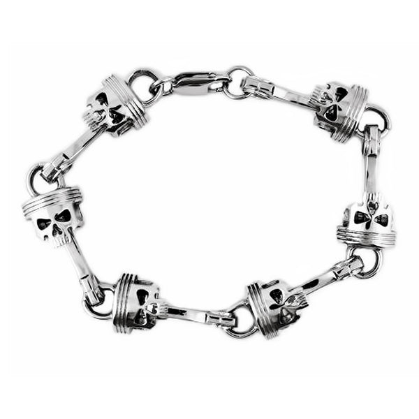 #2290 Piston Skull Bracelet Stainless Steel 9""