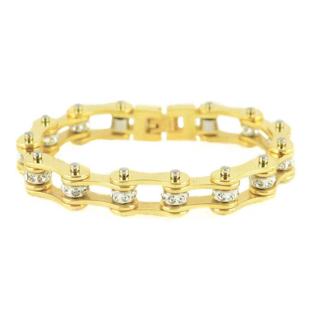 "SK1853 1/2"" Wide All Yellow Tone White Crystal Rollers Ladies Stainless Steel Motorcycle Chain Bracelet"