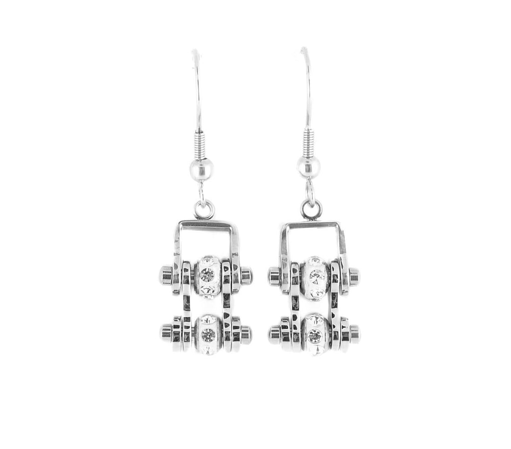 SK2005E MINI All Silver With Crystal Centers Bike Chain Earrings Stainless Steel Motorcycle Biker Jewelry