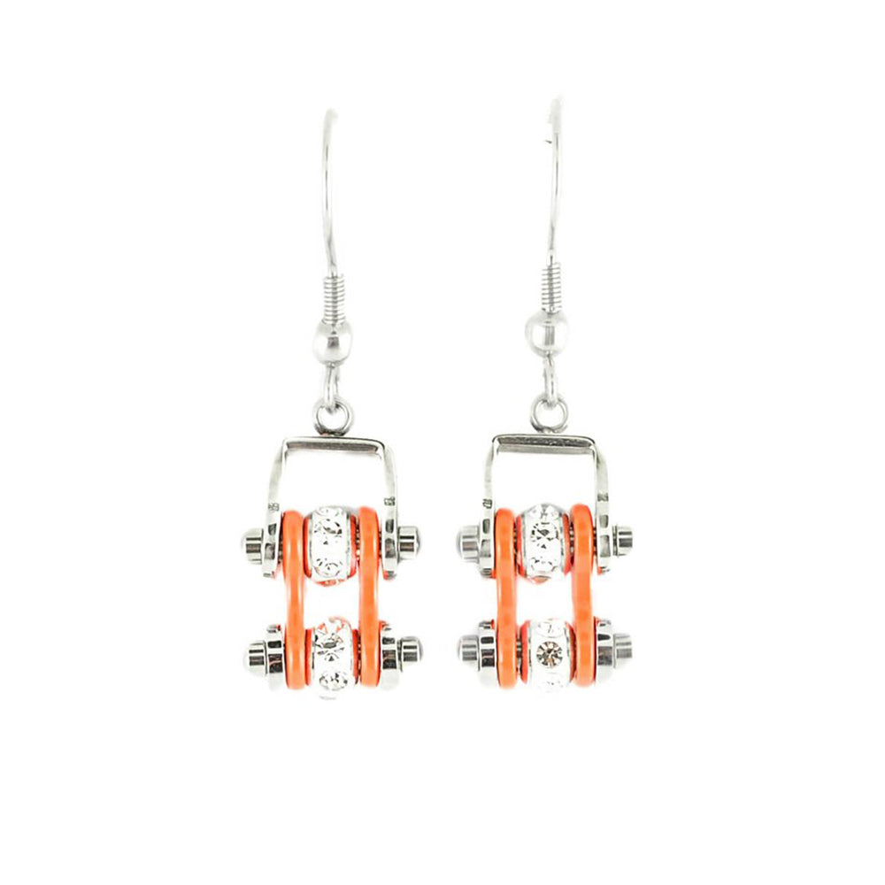 SK2002E  MINI Two Tone Silver Orange With Crystal Centers Bike Chain Earrings Stainless Steel Motorcycle Biker Jewelry