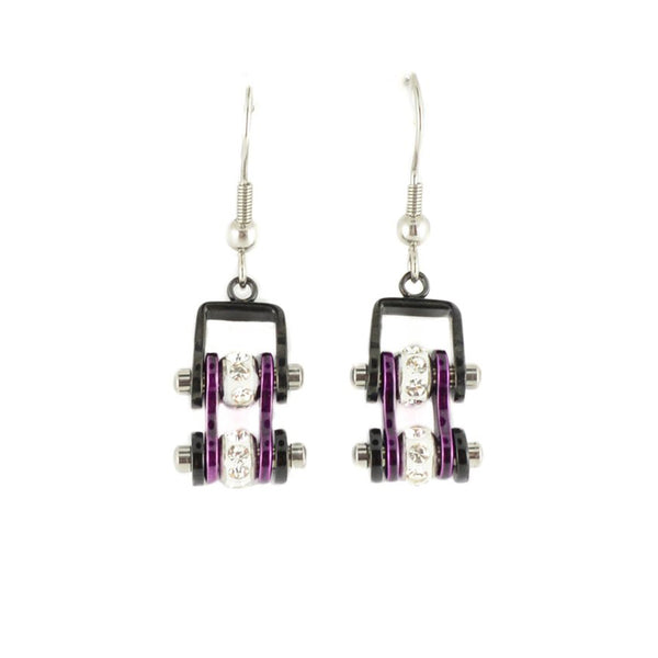 SK2009E  MINI Two Tone Black Candy Purple With Crystal Centers Bike Chain Earrings Stainless Steel Motorcycle Biker Jewelry