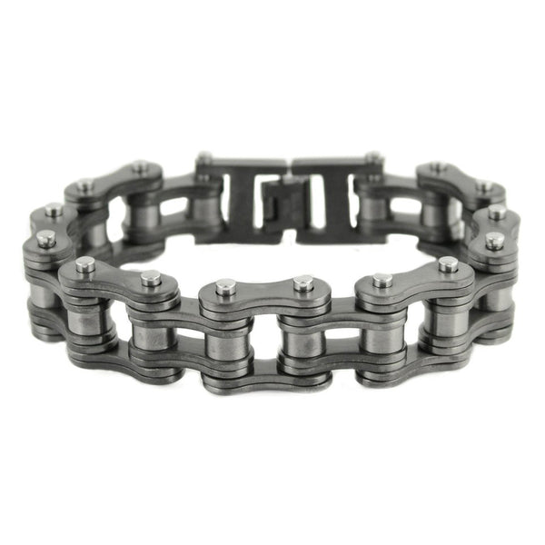 "SK1841 All New GUNMETAL FINISH 3/4"" Wide Double Link Design Unisex Stainless Steel Motorcycle Chain Bracelet"