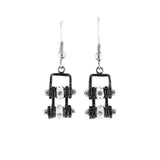 SK2017E  MINI All Black With Crystal Centers Bike Chain Earrings Stainless Steel Motorcycle Biker Jewelry