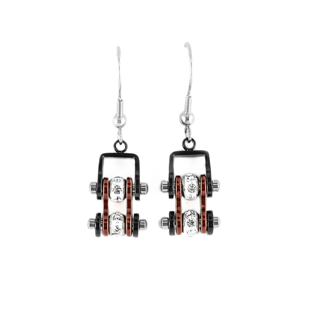 SK2006E  MINI Two Tone Black Candy Red With Crystal Centers Bike Chain Earrings Stainless Steel Motorcycle Biker Jewelry