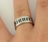 SK1785  Sinner Wide Band Ring Stainless Steel Motorcycle Jewelry  Size 6-15