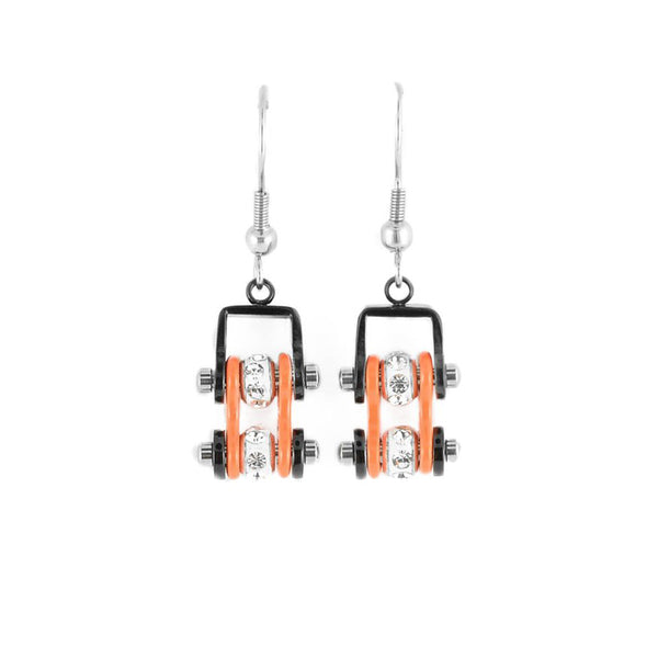 SK2012E  MINI Two Tone Black Orange With Crystal Centers Bike Chain Earrings Stainless Steel Motorcycle Biker Jewelry