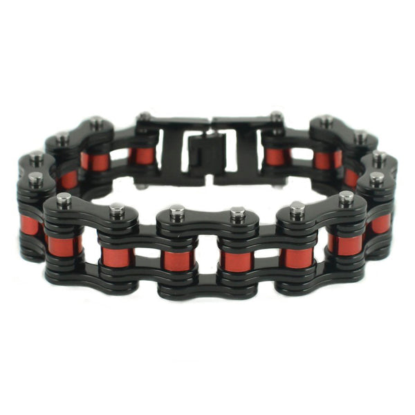 "SK1815 Black With Candy Red Rollers 3/4"" Wide Double Link Design Unisex Stainless Steel Motorcycle Chain Bracelet"