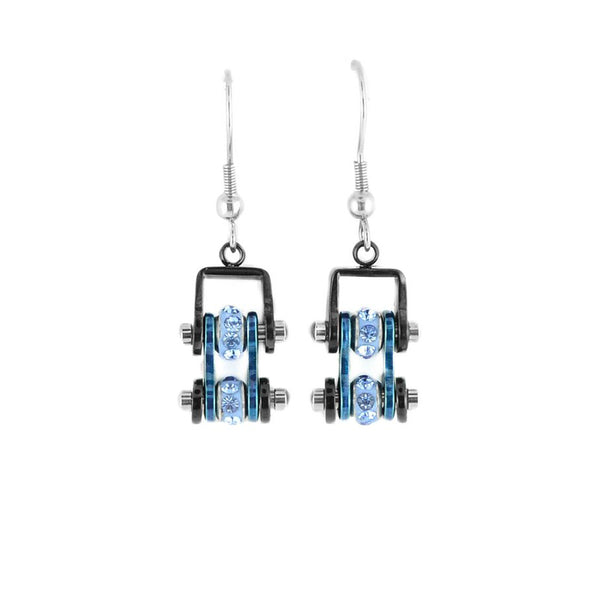 SK2202E  MINI Two Tone Black Blue With Blue Crystal Centers Bike Chain Earrings Stainless Steel Motorcycle Biker Jewelry