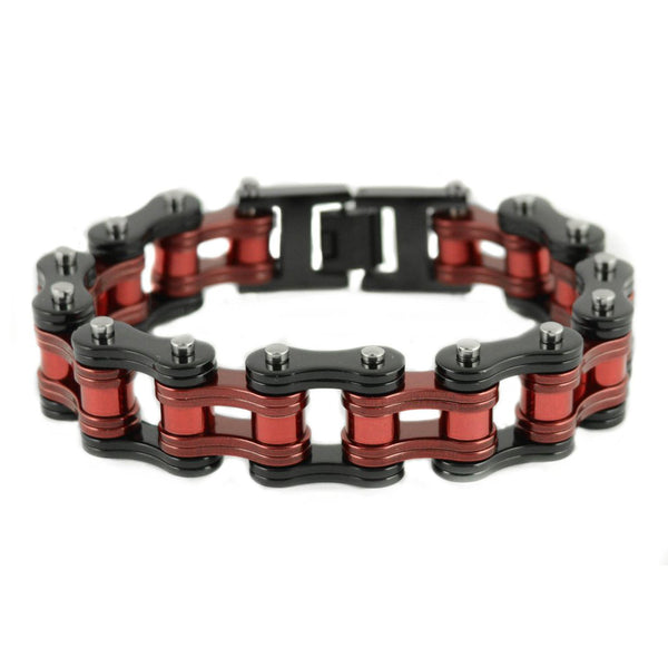 "SK1831 Two Tone Black Candy Red 3/4"" Wide Double Link Design Unisex Stainless Steel Motorcycle Chain Bracelet"