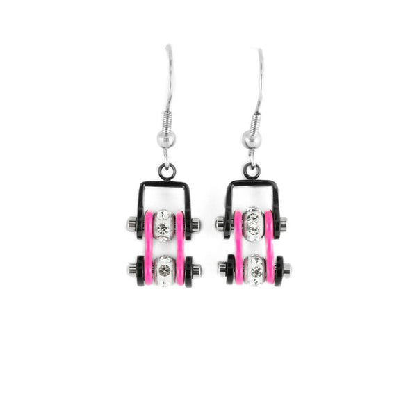 SK2097E  MINI Two Tone Black Pink With Crystal Centers Bike Chain Earrings Stainless Steel Motorcycle Biker Jewelry