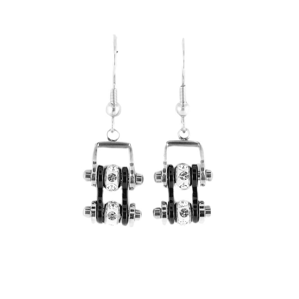 SK2016E  MINI Two Tone Silver Black With Crystal Centers Bike Chain Earrings Stainless Steel Motorcycle Biker Jewelry