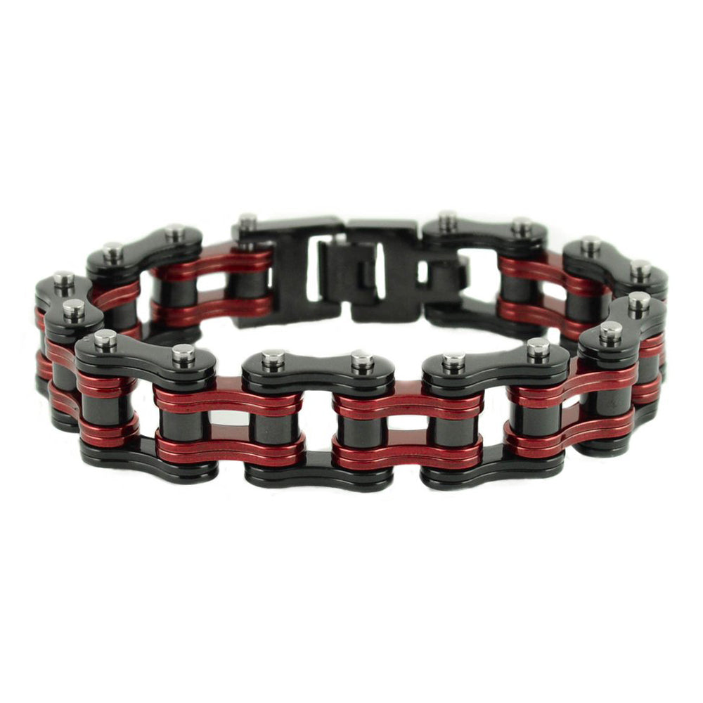 "SK1819 Two Tone Black Candy Red 3/4"" Wide Double Link Design Unisex Stainless Steel Motorcycle Chain Bracelet"