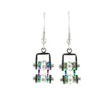 SK1208E  MINI Two Tone Black Rainbow With Crystal Centers Bike Chain Earrings Stainless Steel Motorcycle Biker Jewelry