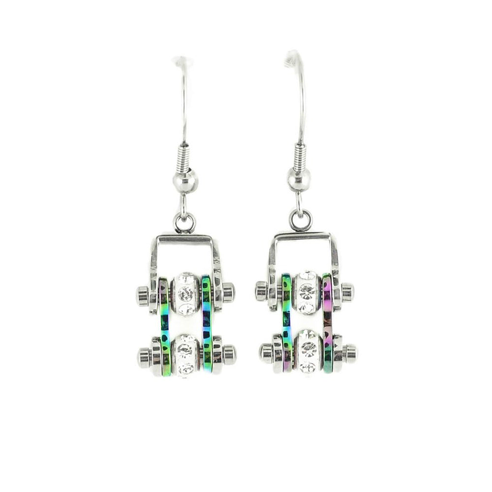 SK2207E  MINI Two Tone Silver Rainbow With Crystal Centers Bike Chain Earrings Stainless Steel Motorcycle Biker Jewelry