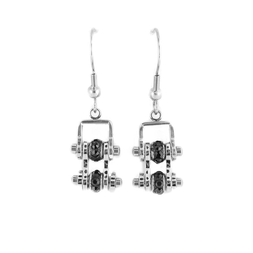 SK2206E  MINI All Stainless Black Crystal Centers Bike Chain Earrings Stainless Steel Motorcycle Biker Jewelry