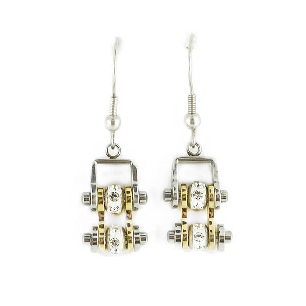SK2096E  MINI Two Tone Silver Gold With Crystal Centers Bike Chain Earrings Stainless Steel Motorcycle Biker Jewelry