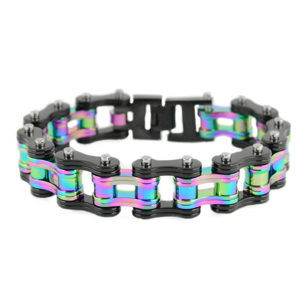 "SK1838 Two Tone Black Rainbow 3/4"" Wide Double Link Design  Stainless Steel Motorcycle Chain Bracelet"