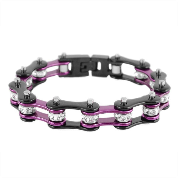 "SK1109 1/2"" Wide Two Tone Black Purple With White Crystal Centers Stainless Steel Motorcycle Bike Chain Bracelet"