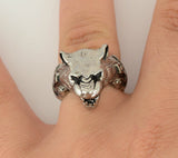 SK1746  Gents Panther Ring Stainless Steel Motorcycle Jewelry  Size 9-14