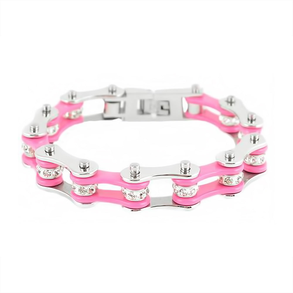 "SK1118 1/2"" Wide Two Tone Silver Pink With White Crystal Rollers Stainless Steel Motorcycle Bike Chain Bracelet"